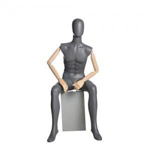 Манекен мужской, сидячий (с деревянными руками)