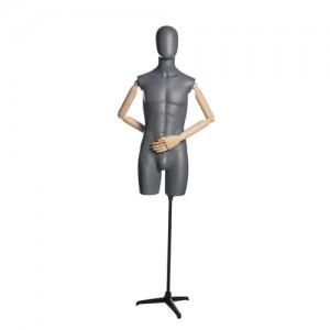 Торс мужской (удлиненный, с деревянными руками, на подставке)