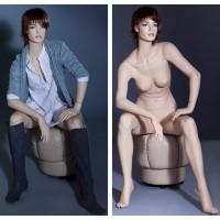 Манекен женский, сидячий (с макияжем, париком), Высота 130 см