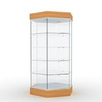 Витрина с освещением Высота подиума 162 мм, Высота фриза 130 мм, Задняя стенка зеркальная
