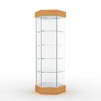 Витрина с освещением Высота подиума 162 мм, Высота фриза 130 мм, Задняя стенка стеклянная