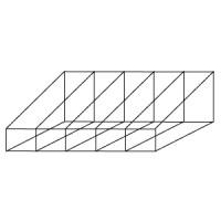 Короб для стеллажа. Высота переднего борта 10 см. Высота заднего борта 20 см. Кол-во отсеков 5. Изготовление на заказ любых размеров