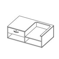 Верх прилавка глухого прямого с местом под кассу. Столешница, торец и боковины оклеены пластиком