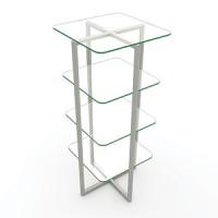Стойка. Полка прозрачное стекло  Материал нержавеющая сталь