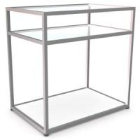 Прилавок 3-х уровневый с полками. Полка прозрачное стекло  Материал нержавеющая сталь