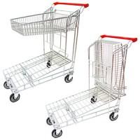 Тележка покупательская, грузовая (Нагрузка на нижнюю платформу 100кг, на корзину 20 кг, колеса 12,7, корзина складывается)