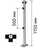 Столбик для проезда тележек трехсторонний (для крепления к полу используются болты OGT.148.00 (4шт.), в комплект не входят)